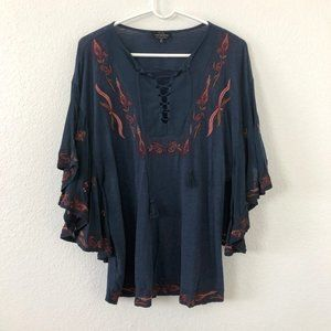 LUCKY BRAND Navy Blue Boho Top K7